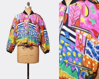 Vintage 80s Hipster Jacket Grunge Bomber Jacket Abstract Print Zip Up DRAWSTRING WAIST 1980s Hippie Vintage Black Pink Green Blue Medium