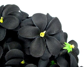 12 Black Plumeria Frangipani Heads - Artificial Silk Flower - 3 inches - Wholesale Lot - for Wedding Work, Make Hair clips, headband