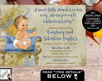 "Angel Baby Shower Invitations Boy Invites, Blue and Gold Vintage baby invitation, Printable, Digital File, 7x5"" Gvites"