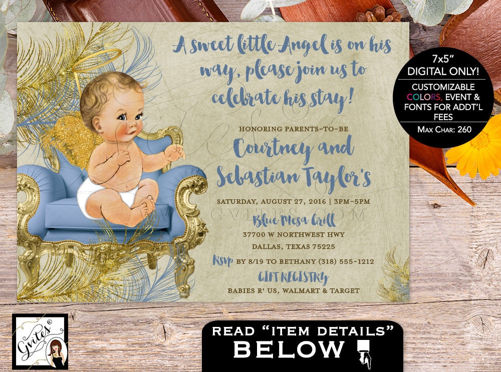 Angel Baby Shower Invitations Boy Invites, Blue and Gold Vintage ...