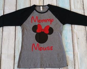 Mommy Mouse raglan- Minnie Mouse inspired - Disney Family shirt- Baseball tee