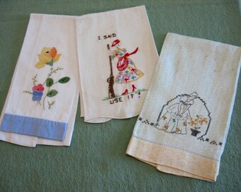Embroidered and Appliquéd hand towels