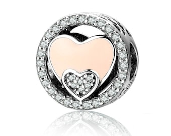 925 Sterling Silver Double Heart Charm Fit Pandora bracelet