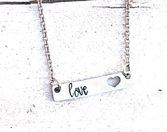 Bar necklace, love necklace, heart necklace, dainty necklace, handstamped necklace, tiny love heart, gift for her, Valentine's Day gift