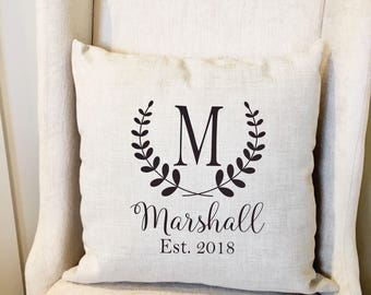 Monogram Pillow Cover - Personalized Name Throw Pillow Cover - Farmhouse Decor - Farmhouse Pillow Covers - Rustic Pillow - Rustic Decor