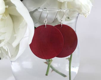 Red Disc Earrings - Red Jewelry - Large Earrings - Statement Earrings - Travel Jewelry - Bridesmaid Gift - Gift for Her - Red Earrings