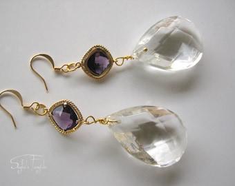 """Vintage Chandelier Earrings -Crystal earrings- Long earrings- Unique Gift """"Unforgetable"""""""
