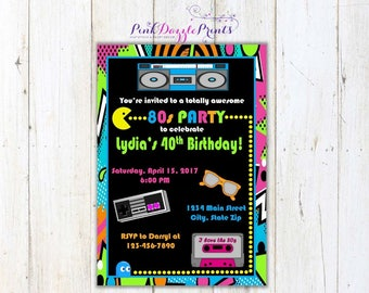5x7 Printable Totally Awesome 80's or 90's Party Birthday Invitation- Any Occasion