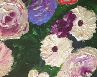 Original floral garden painting, acrylic