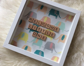 New baby frame gift 'Welcome little one' scrabble letters - baby shower/pregnant/new baby/ nursery/boy/girl