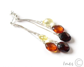 Baltic Amber Dangle Earrings, Faceted Oval Amber Beads