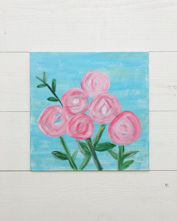 Pink and Blue Flower Painting on Canvas Panel - Original Painting