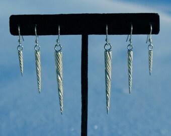 Sterling silver Narwhal tusk earrings