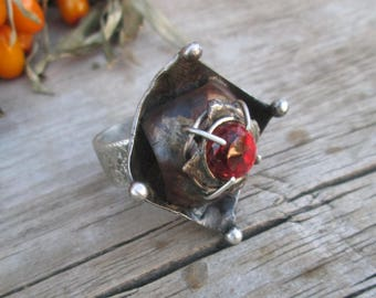 red spinel Ring , Ring Sterling Silver, Sterling silver
