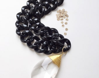 gold wrapped vintage chandelier drop | chunky black acrylic chain | handmade necklace | upcycled jewelry