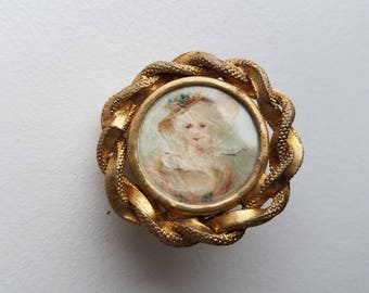 Victorian Scarf or Sash Buckle with Hand Painted Picture