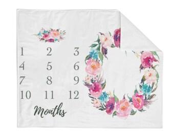 Monthly Milestone Blanket Orchid Floral - Crib Blanket - Baby Blanket - Floral Blanket - Monthly Counter Blanket - Girl Blanket - Baby Gift