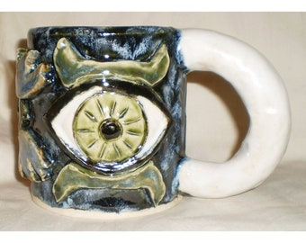 Ceramic Coffee Cup With Big Eyes and Wings or Horns