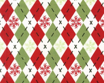 Argyle Sweater Hollyberry from Michael Miller Fabric's Woodland Winter Collection