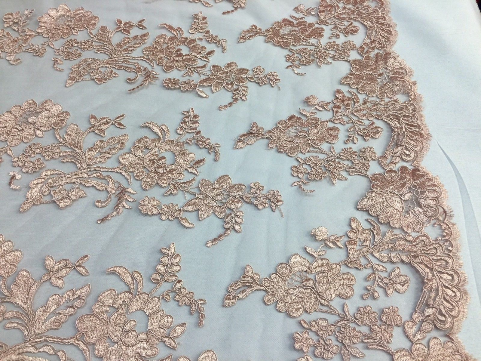 Embroidered Lace fabric - Blush Flower/Floral Corded Mesh Bridal ...