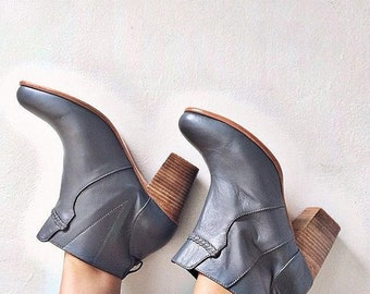 GreyLeather Heel Ankle Boots Booties Womens