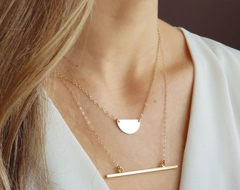 14K Gold Filled Layered Necklace Set of 2 /Half Circle Necklace and Horizontal Bar Necklace /Gold Filled Dainty Necklaces