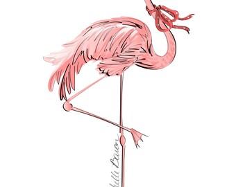 11 by 14 Flamingo Illustration, wall art, art print, Flamingo with pink polka dot bow
