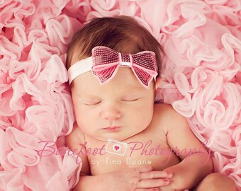 Pink Headband, Pink Baby Headband, Pink Sequin Bow Stretchy Headband or Hair Clip, Newborn Baby Infant Toddler Child Girls Headband