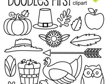Thanksgiving Outlines Clip Art for Scrapbooking Card Making Cupcake Toppers Paper Crafts