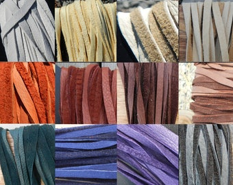 Hand Cut Deer Buckskin Lace - 1/8 Inch Wide - Choice of Leather Color