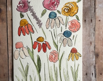 Homemade Watercolor Flower Card, Hand Painted Flower Card, Original Watercolor Cards