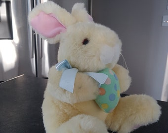 Vintage/Retro/Easter/Bunny/Stuffed/Animal/Rabbit/Spring/Egg/Toy/Gift/Plushie/Plush/Green/Polka/Dotted/Ribbon/Yellow/Pastel/White/Stuffy/Blue