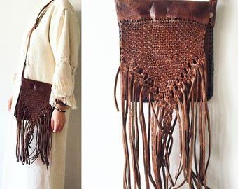 Vintage Fringed Bag , Moroccan Leather Bag , BOHO Fringed Leather Bag