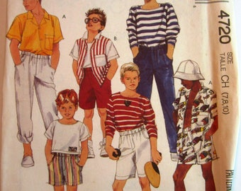 Easy Sew Boys Shirt, Top (stretch knit), Pants and Shorts Sizes 7 8 10 McCalls Pattern 4720 UNCUT