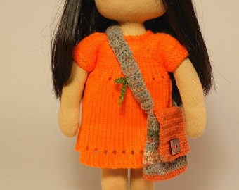 Koko,  Waldorf inspired doll, about30cm (11.8 inches) high, including 2 sets of outfit and a bag