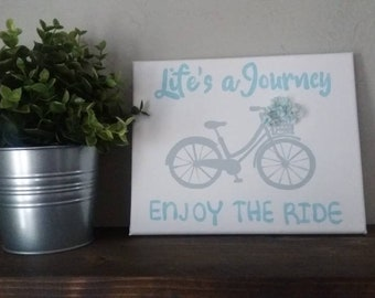 Life's a journey enjoy the ride sign, spring sign, home decor, bicycle sign, spring decor