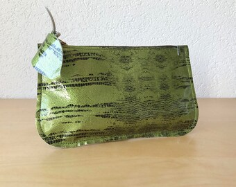 Metallic Green Leather Clutch. Small Leather Cosmetic Pouch. Leather Cosmetic Pouch. Small Leather Evening Bag.