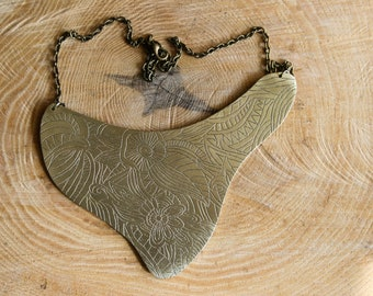 Etched bronze bib necklace