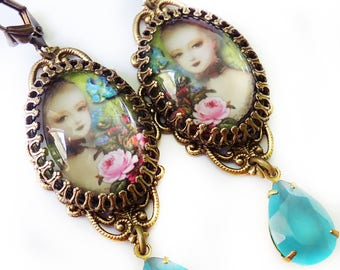 Marie Antoinette Earrings, Rococo earrings, shabby chic, boho earrings, romantic jewelry, opal blue, Queen jewelry, rococo jewelry, earrings