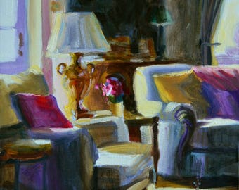 Art Print of RUSTIGE VOORHUIS, French interior, blue and purple, beautiful sitting room