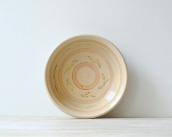 Vintage Bowl, Ceramic Serving Bowl in Cream and Pink, Neutral Pottery Bowl