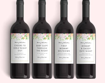 New Mom Gift Wine Labels Mommy Milestones™ Labels (Set of 4)  Spring Baby Shower Gift Idea Wine Fun New Mommy Gift - Mother's Day Gift