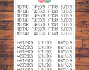 BUJO Weekday Planner Stickers, Bullet Journal, Doodle Planner Stickers, Days of the Week (B001)