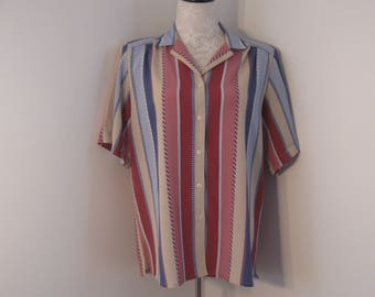 Vintage Ladies Blouse by Tan Jay size 12 Ladies Shirt Stripe Blouse