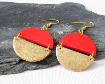 Red earrings, Gold earrings, Geometric earrings, Statement earrings, Girlfriend gift, Vibrant red earrings, Polymer clay semi circle earring