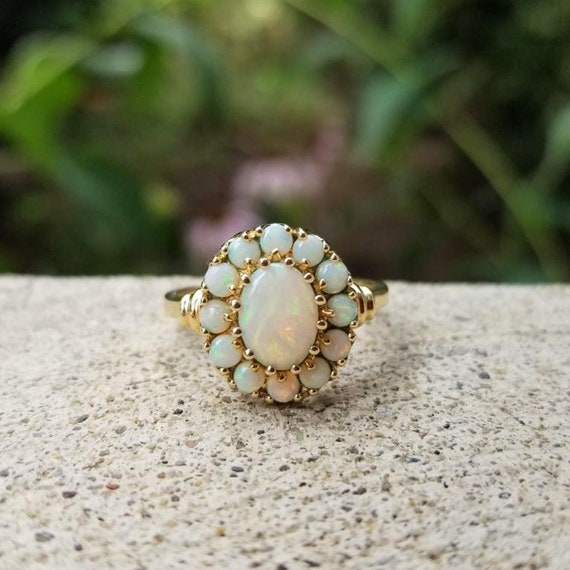 Modern estate 10k gold opal cluster halo ring, size 7-3/4, cocktail ring