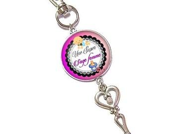 Bag charm, Keychain, glass cabochon, 25 mm, wise woman (240217)