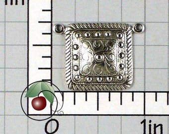 Square Connectors, Necklace Links, Necklace Connector, Bracelet Connector, Bracelet Links, Silver Ox Plated Brass, 4 Pcs, 1322so4