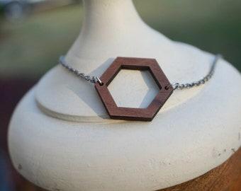 Wood Geometric Necklace, Hexagon, Minimalist, Modern
