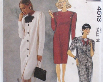 McCall's 4513 - Straight Fitting Dress Sewing Pattern - Size 14, Bust 36